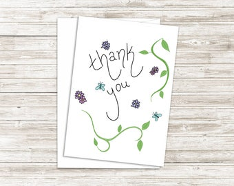 Floral Thank You Card - Floral Compliment Card - Folded Note Card - Business Thank You - 5x7 Greeting Card - Blank Inside
