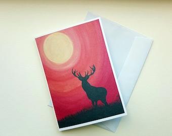 Stag Card, Summer Stag Card, Artwork Card, Blank Card, Greetings Card, Birthday Card, Spirit Animal Card, Pagan Card, Pagan Altar Card, Art