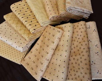 Kim Diehl Quilt Fabric Bundle of Half Yards Hand Cut From 12 Butter Churn Basic Creamy Neutrals For Homestyle Patchwork Quilting Group A