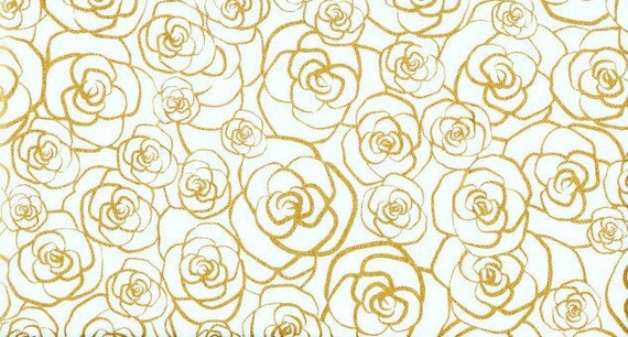 Metallic Gold Outlined Roses on White Fabric Cotton Quilting Apparel ...