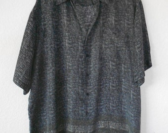 KAID men's silk short sleeve button down shirt size XL