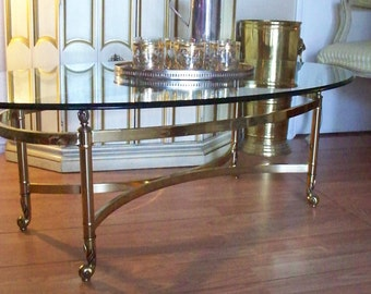 Hollywood Regency Brass and Glass Coffee Table LaBarge Claw Style Feet Neoclassical Design Furniture