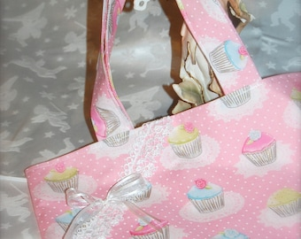 Tote bag tote bag made of pale pink cotton with cupcakes prints - pastel