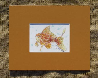 Goldfish Matted Watercolor Print