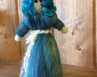 Blue Waldorf-inspired Doll - Lush Curly Blue Locks Hair, Long Gown of Wool and Bamboo Roving in Shades of Blues - Needle Felted