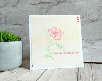 mother's day card - thank you card - anniversary gift- valentines - romantic - handmade - flowers - bouquet