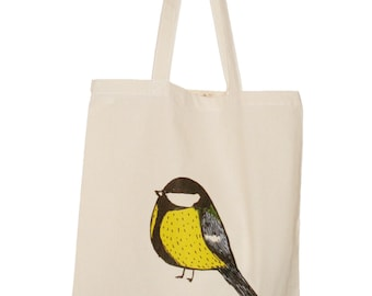 Reusable Shopping Bag Bird  Royal Tit Eco Cotton Tote