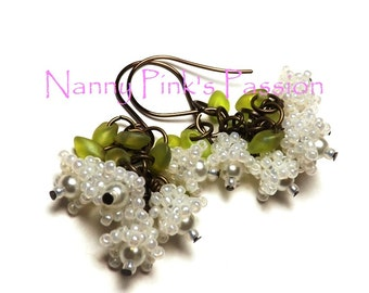 PDF TUTORIAL ~ Lily of the Valley/Forget-Me-Not/Lilac Earrings/Bellflower Beaded Beads