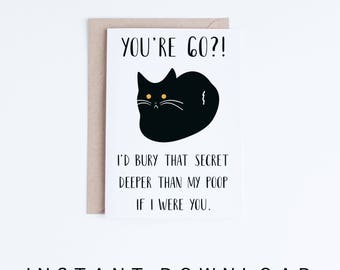 Printable 60th Birthday Cards, Funny Black Cat 60 Birthday Card, Getting Old Card, Printable Cat Card, Instant Download, 60 Birthday Funny