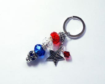 Stars and Stripes Keychain, Red White Blue Keyring, Keychain for Women, Bead Keyring, Stocking Stuffer, Stars and Stripes, USA (8087)
