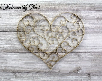 ANY COLOR: Gallery Wall Decor // Love Decor // Valentines Decor //  Gold Heart // Wedding Decor // Gift for her // Filigree Heart