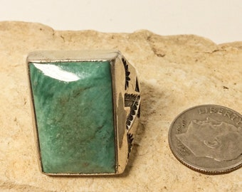 Vintage NOS Sunbell Navajo Turquoise Sterling Mens Ring size 10.75