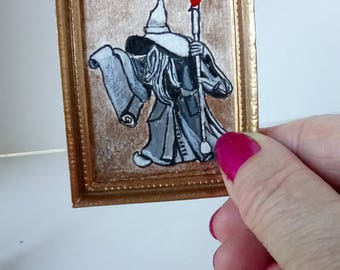 Gandalf, Lord of the rings, wizard,  Elvish,wizard hat,miniature painting,Ring-bearer,the hobbit