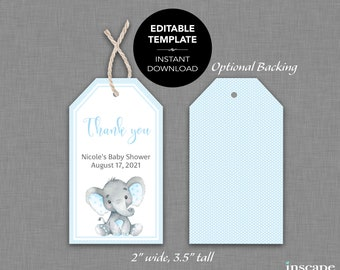 EDITABLE Baby Shower Favor Tags, Cute Blue Elephant Thank You Favor Tags, Editable Boy Baby Shower Tags - Instant Download DIY TAGS Template