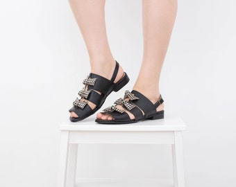 Leather sandals flat peep toe black strappy slingbacks women's handmade designers shoes ADIKILAV free shipping