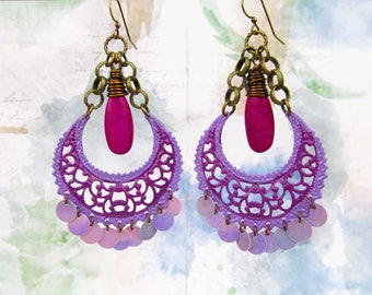 Gypsy earrings Bohemian jewelry Big Earrings Purple chandelier earrings Unique earrings