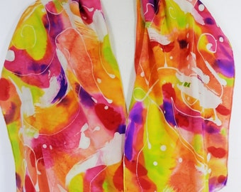 Long Scarf Hand Painted Silk Satin Abstract Design in Swirls of Pink, Orange, Lime and Violet