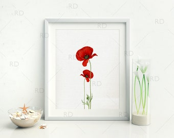 Vintage Poppy Flowers on light canvas background - PRINTABLE Wall Art / Poppy Flowers Wall Art / Poppy Flower Wall Art / Red Poppy Flowers