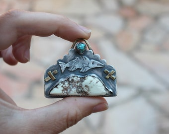 Trout Mountain - Pendant - Sterling Silver - Howlite - Turquoise