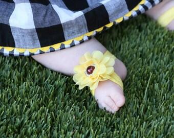 Baby Barefoot Sandals ~ Sunflower Sandals ~ Toddler Sandals ~ Newborn Sandals ~ Baby Flower Sandals ~ Flower girl sandals