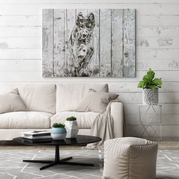 "Running Wolf. Extra Large Wolf Canvas, Unique Wolf Wall Decor, Gray Blue Rustic Wolf Canvas Art Print up to 72"" by Irena Orlov"