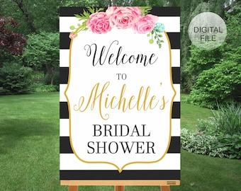 Printable Bridal Shower Welcome Sign, Bridal Shower Decor, Kaly Collection, DIY Bridal shower Sign, Black and White Stripes Bridal Shower