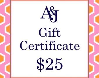 Gift Certificate 25 Dollars