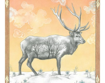"Animal Art Print, limited edition - ""Winter Elk"""