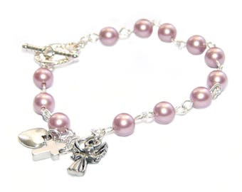 Recovery 12 Step Bracelet - Sponsor or Sobriety Anniversary Gift with Angel Heart Charms, You Choose Pearl Color