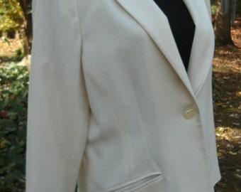 Ivory White WOOL BLAZER, vintage, Cream off-White Minimalist women's Jacket, Hipster chic Retro preppy, one button, beautiful elegant, Large