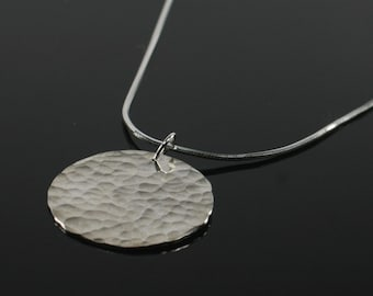 Hammered circle disc pendant, sterling silver necklace, hammered sterling silver circle pendant, simple modern silver necklace
