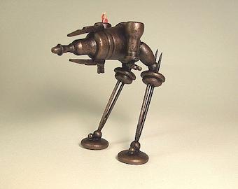 Steampunk Rhino Ray Gun Tank Biped Walker SUPER DETAILED All Wood Miniature