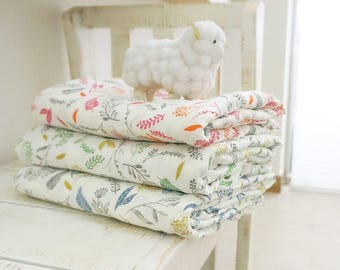 Double Gauze Fabric 100% Cotton by the yard Korea Gauze fabrics Baby Blanket _Leaves_IL094972