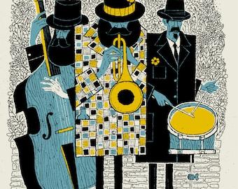Jazz Men 18 x 24 silkscreen
