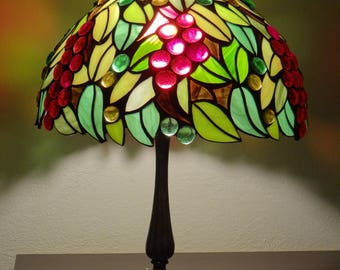Leaves Lamp, Tiffany Style Lamp, Stained Glass Lamp, Leaves Ornaments, Fruit Ornaments, Autumn Ornaments