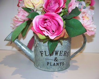 pinks bouquet in metal watercan roses hydranges w bow