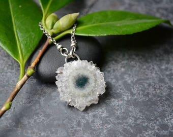 Solar Quartz Slice in Sterling Silver Necklace