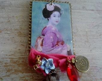 "Long necklace Geisha ""Akimitsu"" - (stone + silk, crystal..)"