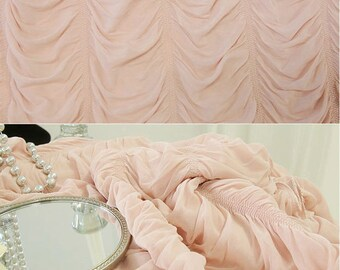 Coral Pink Romantic Pleated Curtain Shirring Drapery Panel