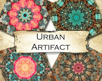 URBAN ARTIFACT•4x4 Square•Printable Digital Images•Cards•Gift Tags•Coasters•SET 2