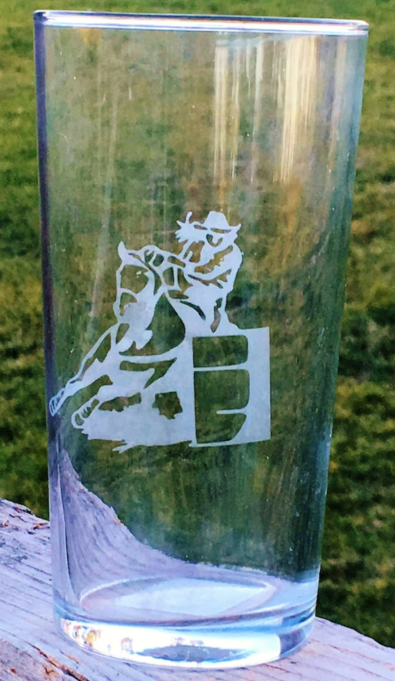 Barrel Racer, Etched Drinking Glass, Barrel Racing, Wedding Gift, Horse Gift, Western Wedding, Etched Glass