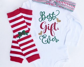 Best Gift Ever Outfit, Newborn Christmas Outfit, Baby Girl Christmas Outfit, My First Christmas, Baby Christmas Outfit, Christmas Headband