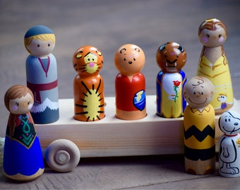 Personalized Peg Doll Bus, Wooden Bus, Personalized Peg Doll Car, Peg People Bus Toy, Peg Doll Family, Peg Doll Toy, Push Toy Bus for Pegs