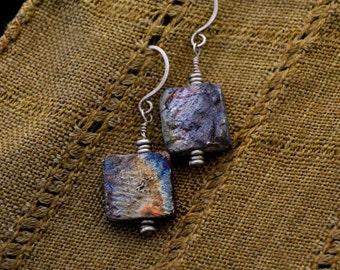 Raku-fired clay earrings