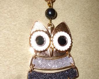 OWL necklace OWL hematite
