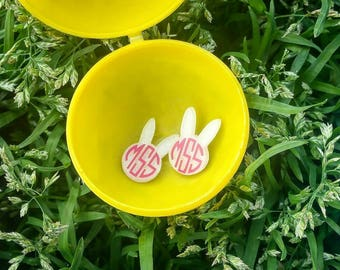 Monogram Earrings. Personalized Jewelry. Rabbit Earrings. Bunny. Rabbit Jewelry. Monogram Jewelry. Bunny Jewelry. Girl Easter Basket.