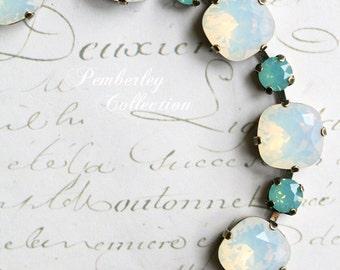 Crystal Opal Bracelet, Opal Bracelet, Swarovski Opal Bracelet, Crystal Bracelet, Cushion Cut Bracelet, Swarovski Crystal Bracelet