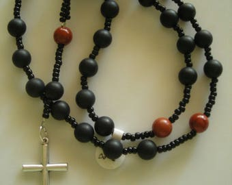 Anglican Rosary: 8mm Matte Black Onyx and Red Jasper