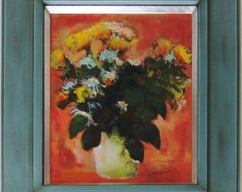 Yellow Flower Oil Paintings on Canvas. Flower Painting.