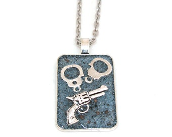 Handcuffs and Revolver Resin Pendant Necklace  - Cop Necklace - Steampunk Jewelry - Law Enforcement Necklace - Police Officer Jewelry